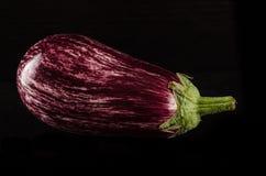 Z waterdrops świeża purpurowa oberżyna Zdjęcia Royalty Free