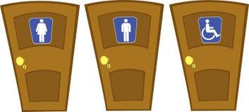 Z Wc Znakami wektorowi drzwi Zdjęcia Stock
