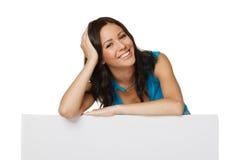 Z whiteboard szczęśliwa kobieta Obraz Stock