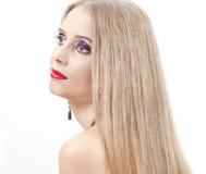 Z wieczór makijażem piękna kobieta Fotografia Stock