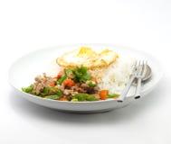 Z wieprzowiną piłka smażący zielony pieprz, Tajlandzki jedzenie Obraz Royalty Free