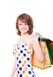 Z zakupami szczęśliwa dziewczyna. Obraz Royalty Free