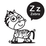 Z Zebra cartoon and alphabet for children to learning and colori Stock Photography