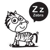 Z Zebra cartoon and alphabet for children to learning and colori. Z Zebra animal cartoon and alphabet for children to learning and coloring page vector Stock Photography