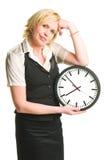 Z zegarem biurowa dama fotografia stock