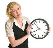 Z zegarem biurowa dama zdjęcie royalty free