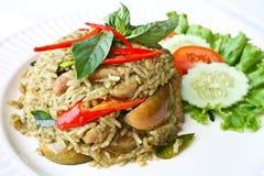Z zielonym currym smażący ryż Fotografia Royalty Free