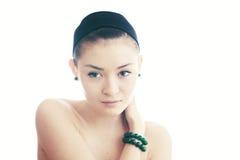 Z zielonymi oczami piękna młoda dziewczyna Fotografia Royalty Free