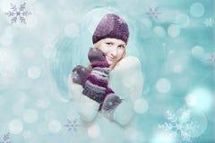 Z zima dziewczyną sztuka kolaż obrazy stock