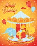 Z zwierzętami urodzinowy carousel royalty ilustracja