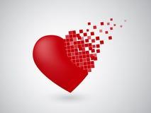 Załamywać się Cyfrowego serce Fotografia Stock