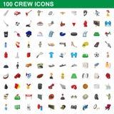 100 załoga ikon ustawiających, kreskówka styl ilustracja wektor