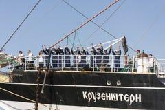 Załoga Krusenstern statek wita swój gości Fotografia Stock