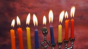 Zaświecać Hanukkah świeczek Hanukkah świętowanie zbiory