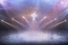 Zaświeca tło Pusty zimy tło i pusty lodowy lodowisko z światłami fotografia royalty free