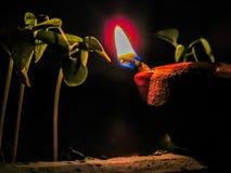 Zaświecająca diya lampa Gliniany diya tradycyjny diwali festiwal Obrazy Stock
