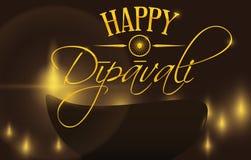 Zaświecająca Diya sylwetka z łunami dla Dipavali lub Diwali festiwalu, Wektorowa ilustracja ilustracji
