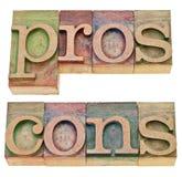Za i przeciw w letterpress typ Obraz Royalty Free