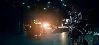 Za kulisami robić reklamie telewizyjnej i filmowi Kamera film zdjęcia stock
