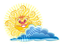 za obłocznym szczęśliwym słońcem Zdjęcia Stock