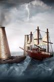 za szarość miniatury oceanu statku niebem Fotografia Royalty Free