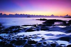 zaświeca purpurowego niebo Obraz Stock