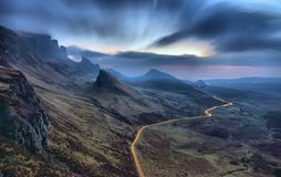Zaświeca Up Quiraing Fotografia Stock