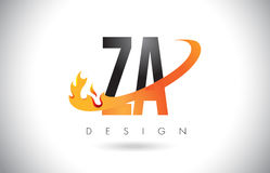 ZA Z A Letter Logo with Fire Flames Design and Orange Swoosh. ZA Z A Letter Logo Design with Fire Flames and Orange Swoosh Vector Illustration Stock Image