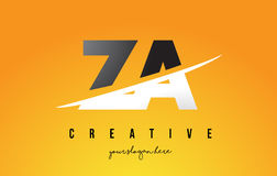 ZA Z A Letter Modern Logo Design with Yellow Background and Swoo Royalty Free Stock Photos