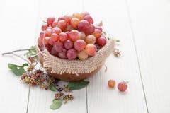 Zaadloze druiven in een houten kom Stock Foto