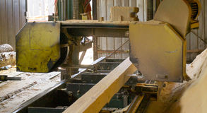 zaagmolen Het proces om machinaal te bewerken opent de zagen van de zaagmolenmachine de het programma boomboomstam stock afbeelding