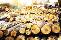 Zaagmolen, hout, hout, logboeken, raad, grondstoffen, de industrie, royalty-vrije stock foto's