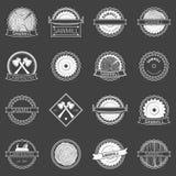 Zaagmolenkentekens of emblemen Stock Afbeelding