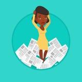 Zaakcentowana biznesowa kobieta ma udziały praca robić royalty ilustracja