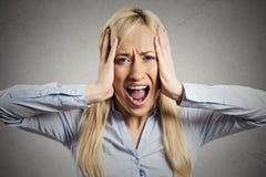 Zaakcentowana biznesowa kobieta, pokrywa ucho z ręk wrzeszczeć fotografia stock