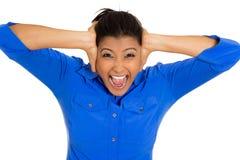 Zaakcentowana kobieta ma migrenę Zdjęcie Royalty Free