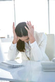 Zaakcentowany bizneswoman pracuje przy jej biurkiem Obraz Stock