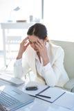 Zaakcentowany bizneswoman pracuje przy jej biurkiem Zdjęcie Royalty Free