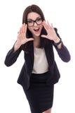 Zaakcentowany młody biznesowej kobiety krzyczeć odizolowywam na bielu Obraz Royalty Free