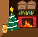 Zaal één hoek van woonkamer voor Kerstmis wordt verfraaid die stock afbeeldingen