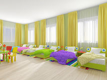 Zaal aan slaap in kleuterschool Royalty-vrije Stock Foto's