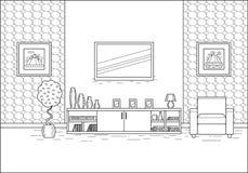 Zaal binnenland in het vlakke ontwerp van de lijnkunst Vector illustratie Stock Afbeelding