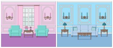 Zaal binnenland in klassieke stijl Vlak Ontwerp Vector illustratie vector illustratie