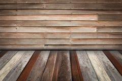 Zaal binnenland met oude houten muur en houten vloerachtergrond, wi Royalty-vrije Stock Foto's