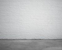 Zaal binnenland met witte bakstenen muur en concrete vloer royalty-vrije illustratie