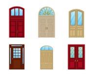 Zaal deurreeks pictogrammen, binnenlands ingangsontwerp Royalty-vrije Stock Afbeeldingen