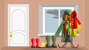 Zaal gangontwerp met deur en venster royalty-vrije stock foto