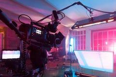 Zaal met materiaal voor een film Stock Fotografie