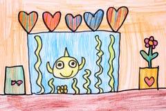 Zaal met aquarium - kleurpotloodtekening Stock Afbeelding