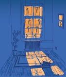 Zaal met buitenverlichting stock illustratie